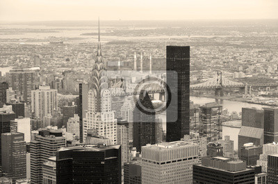 Manhattan skyline with New York City skyscrapers in black and wh