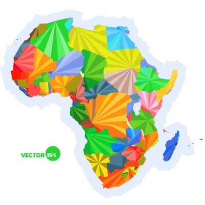 Wall mural map of Africa. concept map with countries Colorful Africa map, abstract background design infographic, Africa map in polygonal origami vector illustration logo design