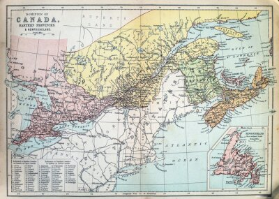 Wall mural Map of Eastern Provinces of Canada
