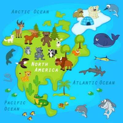 Wall mural map of the North America with animals - vector illustration, eps