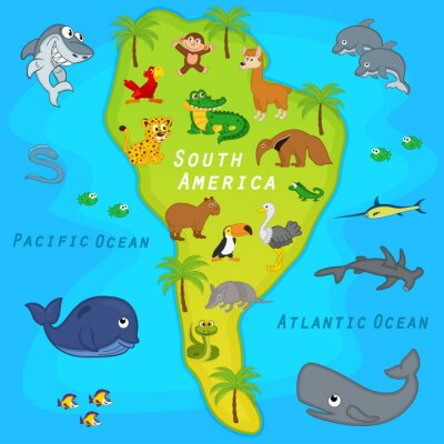 Wall mural map of the South America with animals - vector illustration, eps