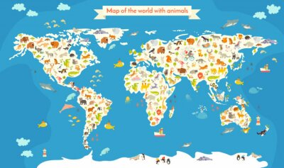 Wall mural Map of the World with animals. Beautiful colorful vector illustration. Preschool, for baby, children, kids and all people