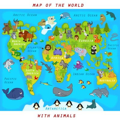 Wall mural  map of the world with animals - vector illustration, eps