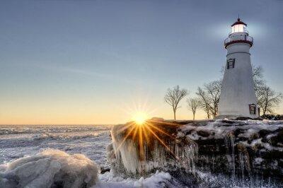 Wall mural Marblehead Lighthouse Winter Sunrise