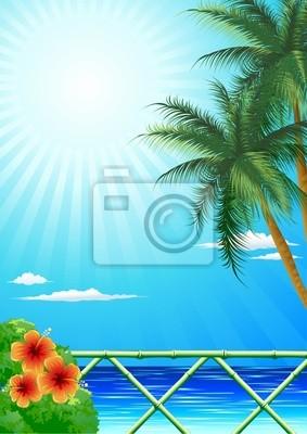 Mare Tropicale con Palme-Exotic Sea with Palmtrees-Vector