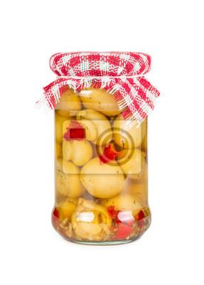 Marinated mushrooms in a glass jar
