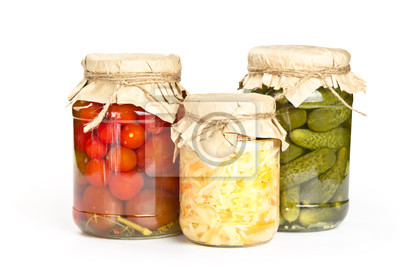 Marinated tomatoes, cucumbers and cabbage