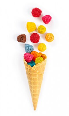 Wall mural Marmalade candy in the form of berries in waffle cone