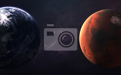 Mars and Earth, Planets of the Solar system. InSight mission. Elements of this image furnished by NASA