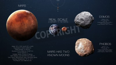 Wall mural Mars - High resolution infographics about solar system planet and its moons. All the planets available.