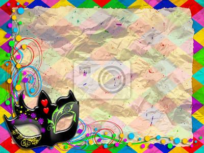 Maschera Arlecchino-Mask Background-Masque Arlequin-Verticale
