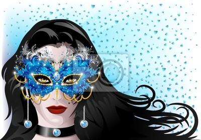 Maschera Carnevale Piume-Feathers Carnival Mask-Vector
