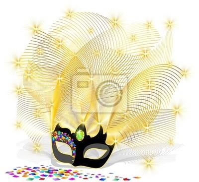 Maschera con Piume d'Oro-Golden Feathers Mask-Vector