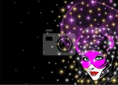 Maschera Rosa Fondo-Pink Mask Background-Vector