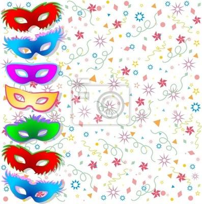Maschere Multicolori Fondo-Multicolored Masks Background-Vector