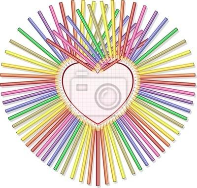 Matite Colorate con Cuore-Colored Pencils and Heart Background