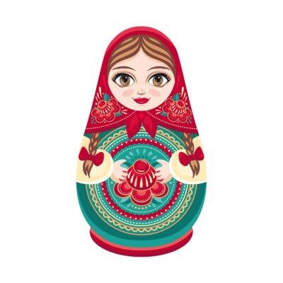 Wall mural Matryoshka. Russian folk wooden doll. Babushka doll. Vector illustration on white background