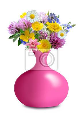meadow flowers in pink vase
