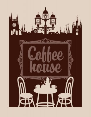 Wall mural menu for coffee house with picture frame and the old town