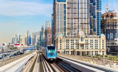 Wall mural Metro train on the Red line in Dubai