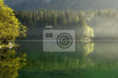 mglisty poranek nad alpejskim jeziorem