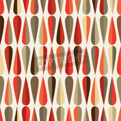 Wall mural Mid-century modern style retro seamless pattern with drop shapes in various color tones, abstract repeating background for all web and print purposes.