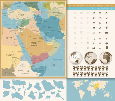 Wall mural Middle East And West Asia Map Vintage Colors