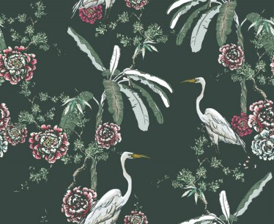 Wall mural Midnight Chinoiserie Floral Seamless Pattern, White Cranes in Palms and Roses on Dark Background, Chinese Wallpaper Design Flower Plants Jungle Forest, Tropical Birds