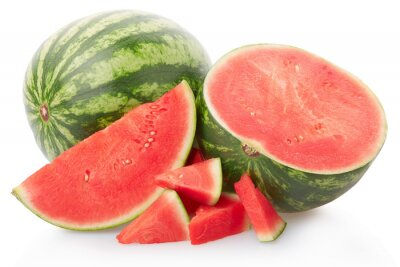 Wall mural Mini fresh watermelon group isolated on white, clipping path