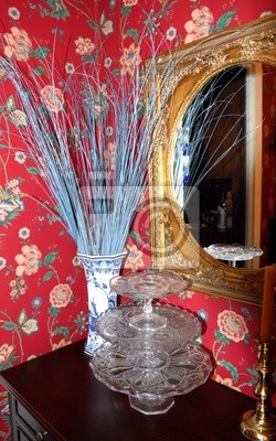 mirror, sticks and cake stands