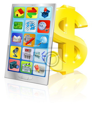 Mobile phone and gold dollar sign