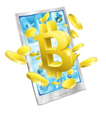 Mobile phone Bitcoin sign and gold coins concept