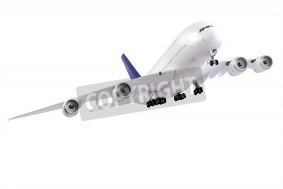Wall mural Modern airplane isolated on white background.
