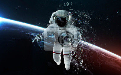 Modern art of astronaut at deep space. Pixelization. Elements of this image furnished by NASA