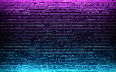 Wall mural Modern futuristic neon lights on old grunge brick wall room background. 3d rendering
