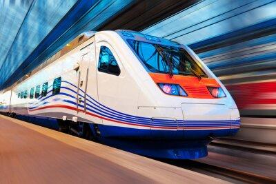 Wall mural Modern high speed train with motion blur