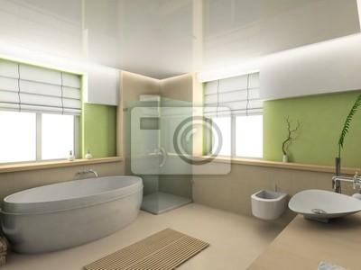 Modern interior . 3D render . Bathroom . Exclusive design .