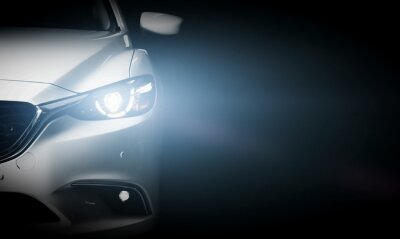 Wall mural Modern luxury car close-up banner background