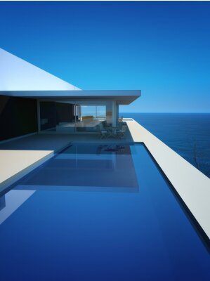Wall mural Modern Luxury Loft / Apartment with Ocean View + Infinity Pool