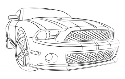 Wall mural Modern muscle car drawing