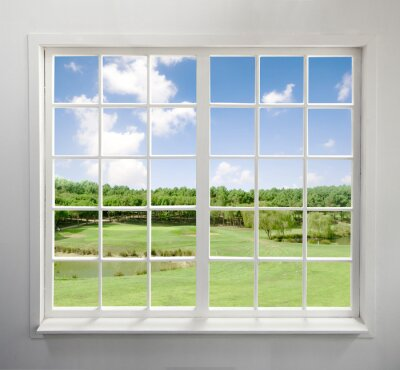 Wall mural Modern residential window with lake view