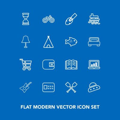 Modern, simple vector icon set on blue background with oar, music, literature, clock, ufo, technology, hour, bike, finance, canoe, graphic, white, cash, laptop, safety, ship, musical, space icons