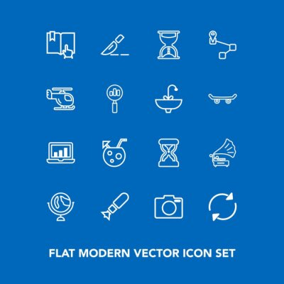 Modern, simple vector icon set on blue background with technology, timer, book, clock, surgery, world, medical, globe, drink, glass, vintage, time, retro, war, equipment, planet, graphic, music icons