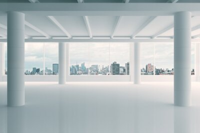 Wall mural Modern white hangar area with city view