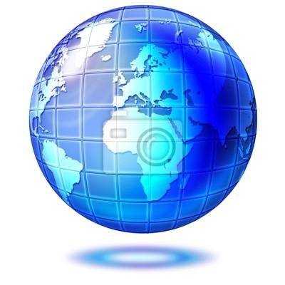 Mondo di Cristallo-Blue Crystal Globe-Monde Bleu-2