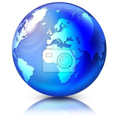 Mondo di Cristallo-Blue Crystal Globe-Monde Crystal Bleu