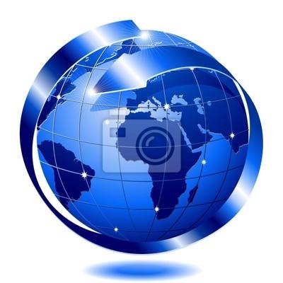 Mondo Globo Blu con Freccia-Blue Globe World with Arrow-Vector