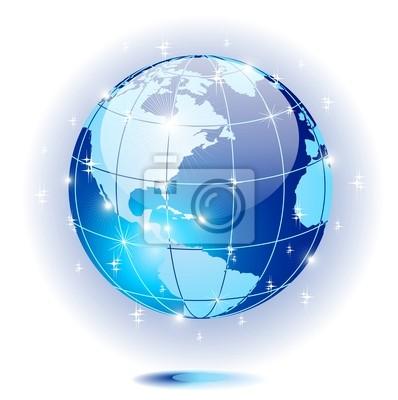 Mondo Globo Cristallo Blu-Crystal Blue World Globe-Vector