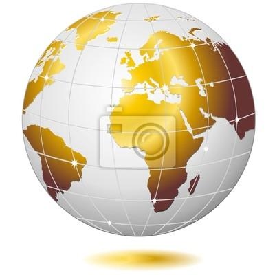 Mondo Globo D'Oro-Golden Earth Globe-Vector