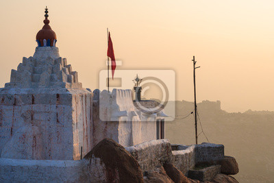 Monkey temple at sunrise hampi india